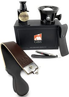 GBS Classic Old school Wet Shaving Set - Gift Box, Shave Ready Gold Dollar Straight Razor Carbon Steel, Shaving Mug, Pure Badge Brush, Stand, GBS Shaving Soap, Leather Case, and Strop