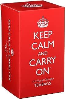 Keep Calm and Carry On Tea Carton Box, English Breakfast Tea (40 Bags, 125g, 4.4oz)