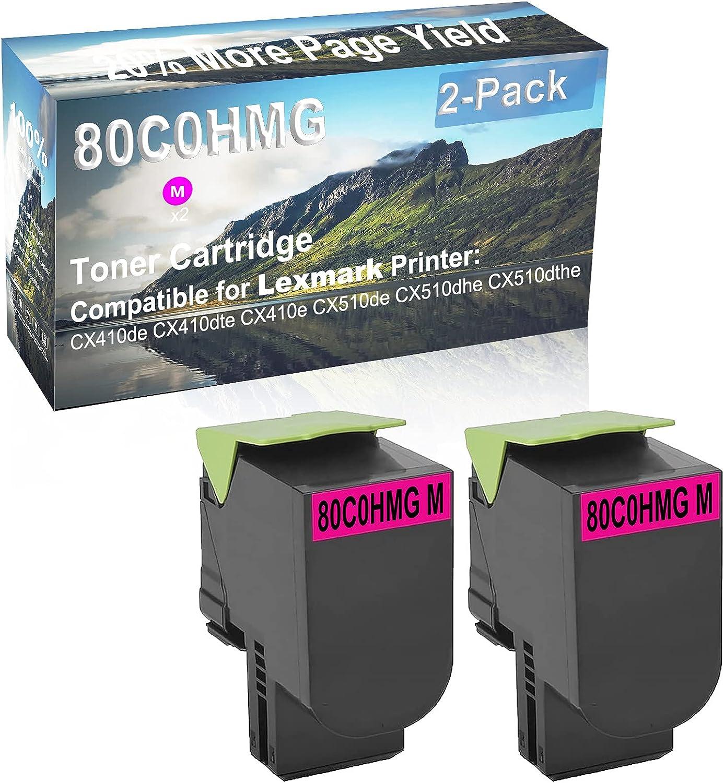 2-Pack (Magenta) Compatible High Capacity 80C0HMG Toner Cartridge Used for Lexmark CX410de, CX410dte Printer