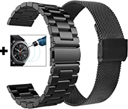 CAGOS Compatible Galaxy Watch 46mm/Gear S3 Bands - 22mm Stainless Steel Band Bracelet Strap Replacement for Samsung Galaxy Watch 46mm/Gear S3 Frontier/Classic Smartwatch+Tempered Glass-XLarge