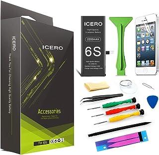ICERO 2200 mAh batería compatible iPhone 6S, batería de repuesto de iones de litio de alta capacidad Kit de herramientas de reparación de batería Protector de pantalla [batería para iPhone 6S]