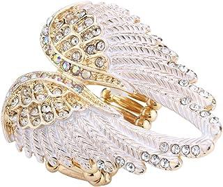 Szxc Jewelry Women's Crystal Angel Wings Stretch Rings Biker Jewelry