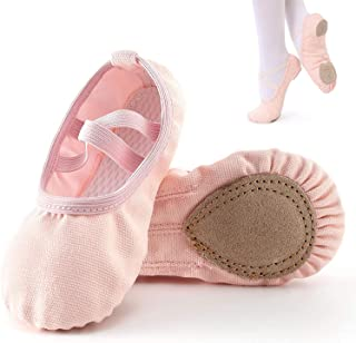 Ballet Slippers,Stretch Canvas Dance Ballet Shoes Slippers Flats Pumps for Girls Toddlers Kids (35)