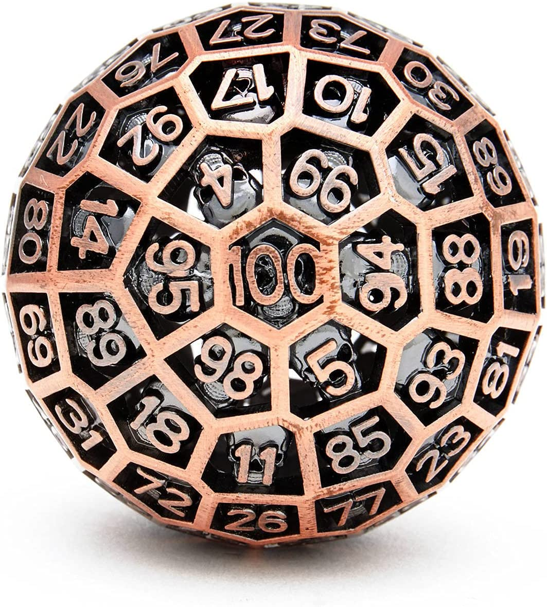 FeiyueDa Ball of Destiny: D100 Hollow Dice 2021 spring and summer new DND Metal Skull New color