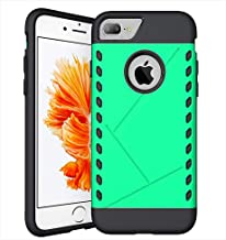 CaseHQ iPhone 7 Plus Case,iPhone 8 Plus Case,PC+Rubber Slim fit Heavy Duty Protection Style Protective Shockproof Cover Bumper Case for Apple iPhone 7 Plus/iPhone 8 Plus (5.5 inch screen)(green)