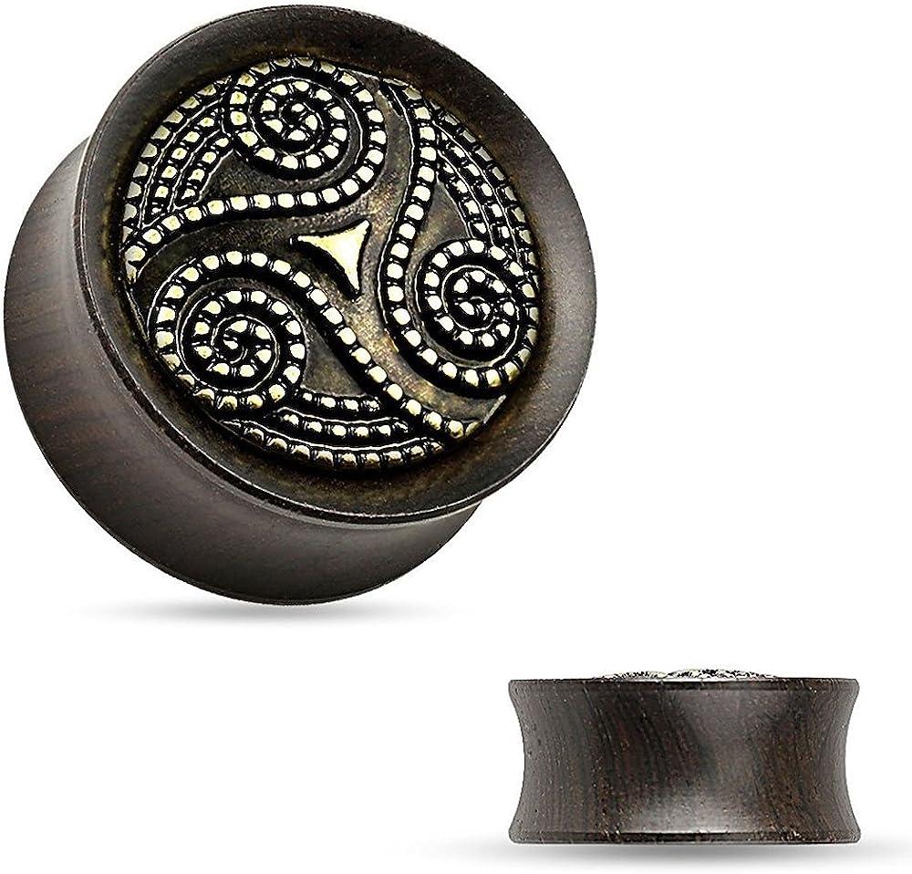 Covet Jewelry Dotted Tribal Swirl Ebony Wood Double Flare Saddle Fit Plug