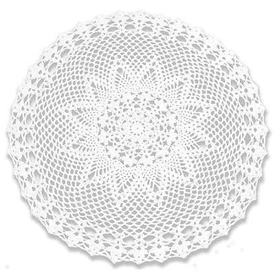 gracebuy White 22 Inch Round Handmade Cotton Cr...