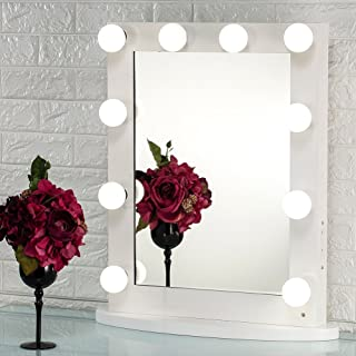 Joyful Store White Hollywood Makeup Mirror,Lighted Vanity Mirror,Tabletop or Wall Mounted Cosmestic Mirror with LED Lights,Back Stage Beauty Mirror with 12 Free Dimmer Bulbs