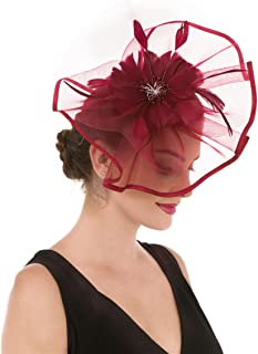 SAFERIN Fascinators Hat Flower Feather Net Mesh Kentucky Derby Tea Party Headwear with Hair Clip and Hairband for Women