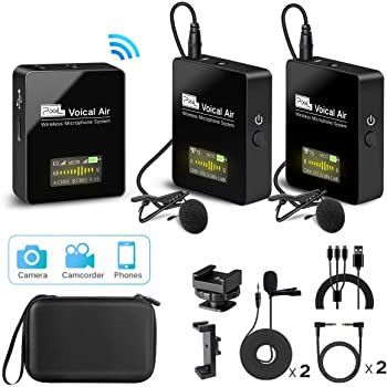 Pixel UHF Wireless Lavalier Microphone System with 1 Receiver, 2 Transmitters, and 2 Lapel Microphones Compatible with Camera,Smartphones,DSLR,and Video Cameras,Mobile Devices YouTube Facebook Live