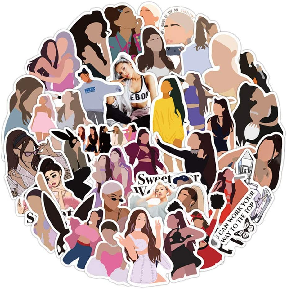 Ariana Grande Stickers 50pcs Singer Room Decorations Laptop Bumpers Cars Computers Skateboard Decor for Boys