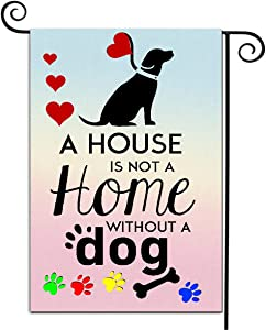 Welcome Garden Flags Courtyards Double Sided Seasonal Flags Decorative House Flag House is Not A Home Without A Dog Theme Outside Decor Seasonal Yard Flag Durable Burlap Farmhouse Flag 12.5 x 18 Inch