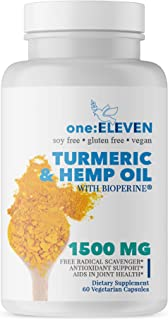 Turmeric Curcumin (95%) with Hemp Oil & BioPerine Black Pepper Extract. Sleep Aid & Anxiety Relief. Vegan, Non-GMO, Anti-Inflammatory, Joint Pain Relief, Antioxidant. Made in USA. 60 Capsules 1 Month