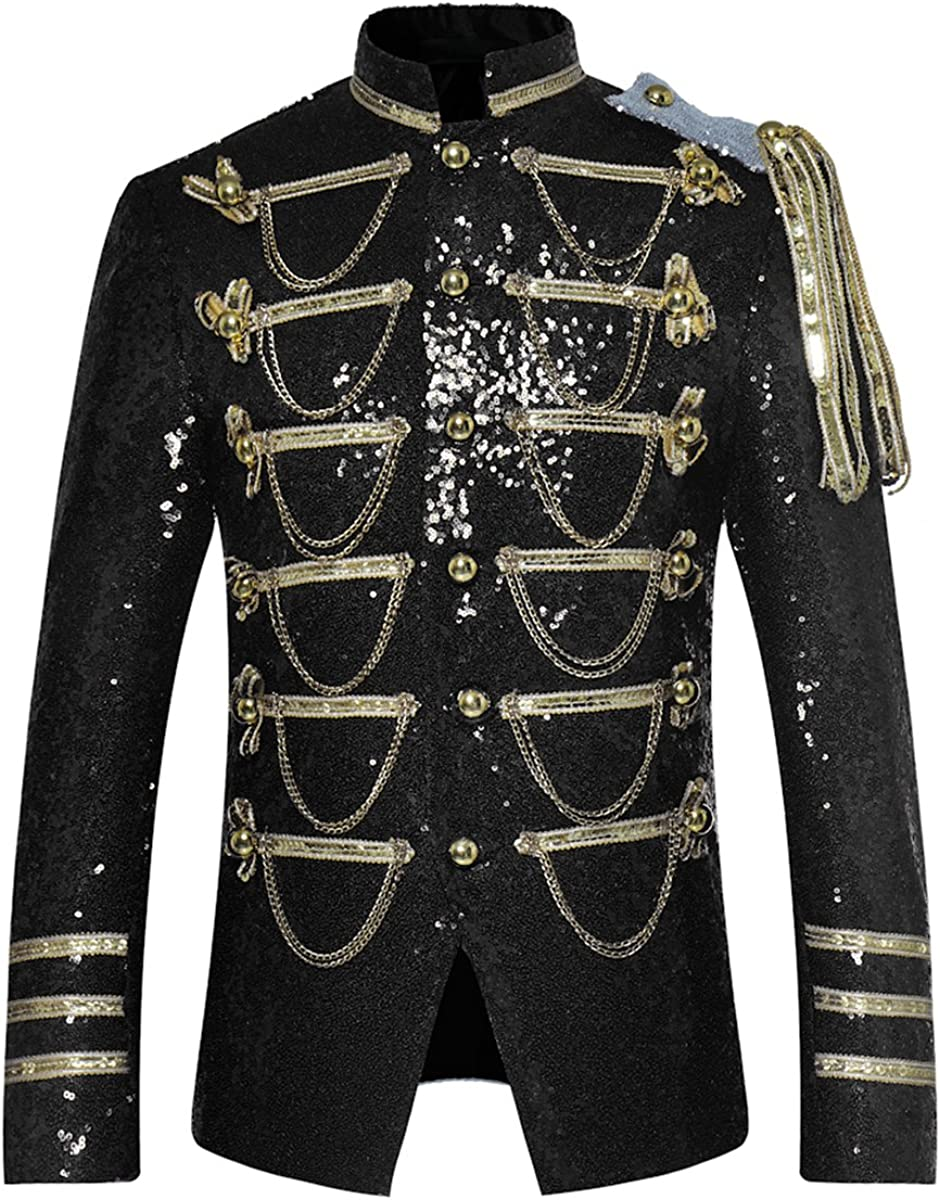 Mens Party Coats Slim Fit Sequin Blazer Single Breasted Prom Vintage Suit Jacket