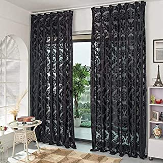 fgdsa Negro Jacquard Pura Cortina Voile para Dormitorio Sala De Estar,Draperies De Decoración del Hogar Estilo Gancho,Cort...