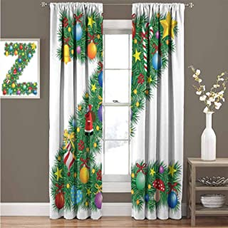 GUUVOR Letter Z Shading Insulated Curtain Traditional Themed Font Design Z with Colorful Ornaments Christmas Santa Claus Soundproof Shade Curtain 100