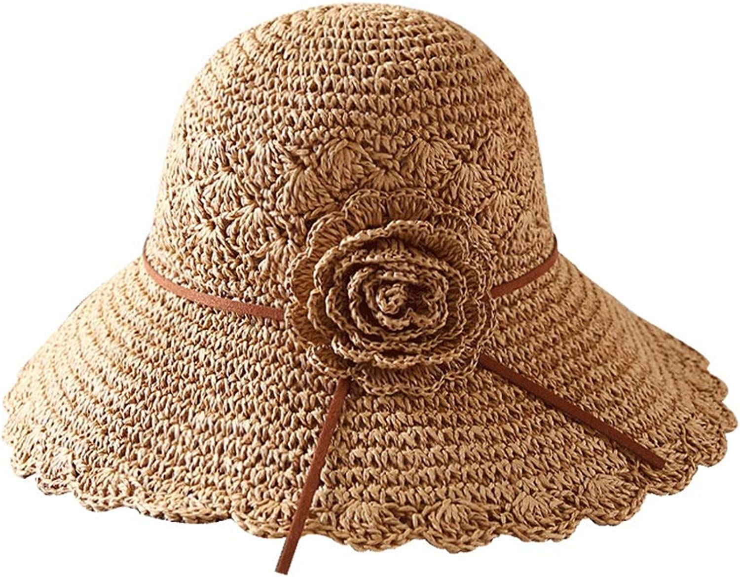 Summer Beach Cap Women's Folding Floppy Travel Can Store UV Predection Hat Cotton Wide Hat (color   Brown, Size   5658cm)