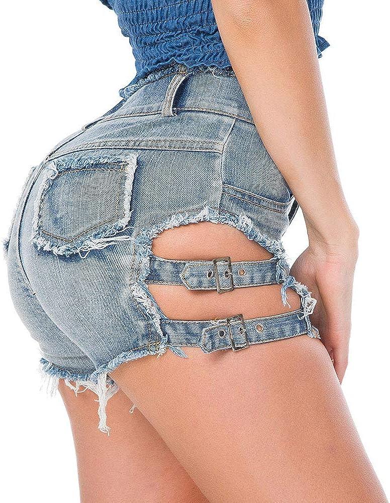 AKDSteel Women Summer Hole High Waist Casual Denim Shorts