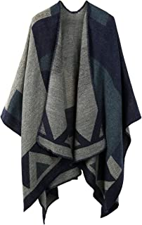 Women Winter Scarf Wrap Reversible Oversized Poncho Cape Cardigan Knitted Coat