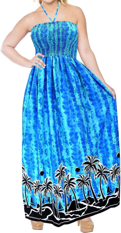 LA LEELA Women's Plus Size Beach Dress Tube Sun Dresses for Women Printed A