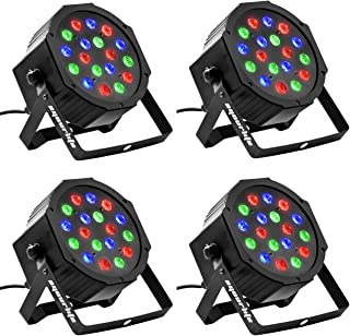 Eyourlife 4PCS 18 X 3W LED DJ Par Lights 54W RGB DMX512 For Stage Party Show Uplighting DJ Lighting
