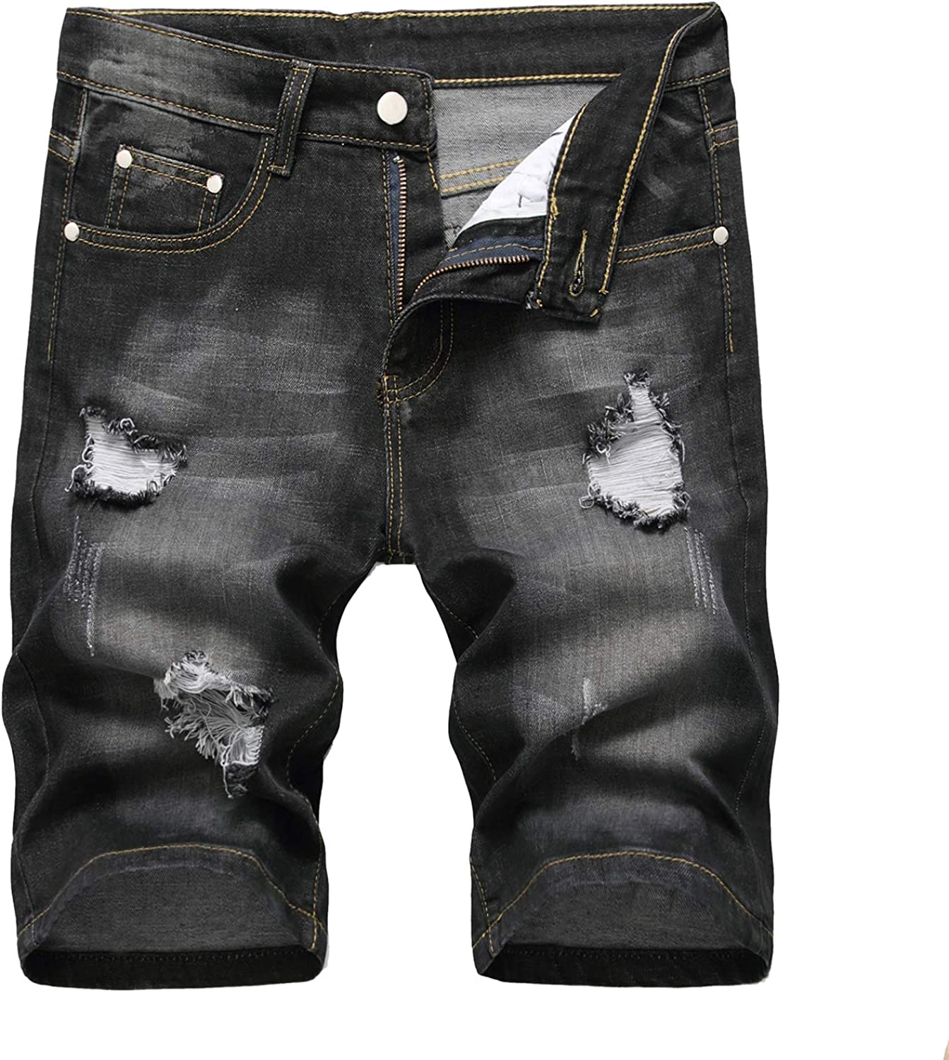 Amoystyle Men's Stretch Ripped Jean Shorts