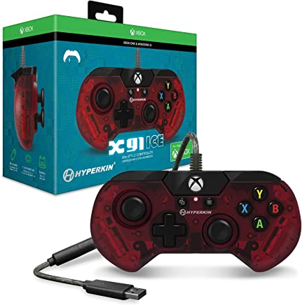 Hyperkin X91 Ice Wired Controller for Xbox One/ Windows 10 PC (RUBY Red) - Officially Licensed By Xbox - Xbox One