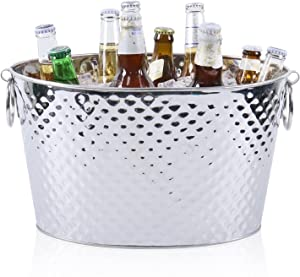 12L Large Stainless Steel Beer Bucket,Beverage Tub,Ice Buckets with Double Handles for Weddings,Family Party and Business Party
