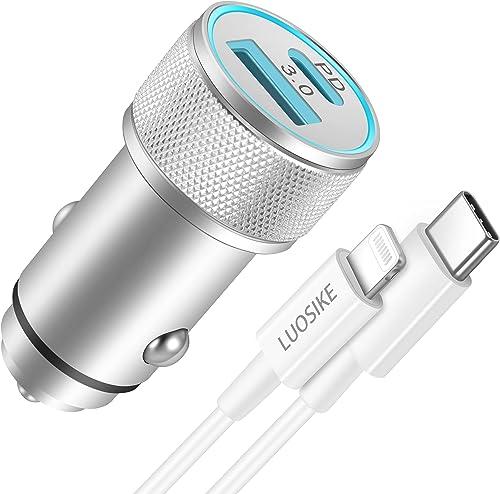 Cargador Coche LUOSIKE 20W USB C con Cable Lightning de 1m, Cargador Mechero Coche Rápida con PD y QC3.0, Cargador Mo...