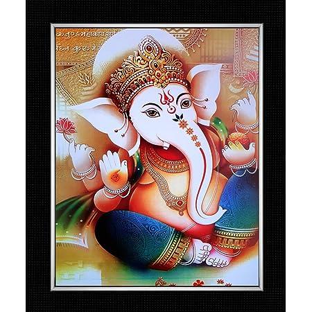 Shree Acrylic Sheet Handicraft Lord Ganesha Ji Home Decorative Photo Frame Wall Mount Painting (29 x 24.5 x 1 cm)