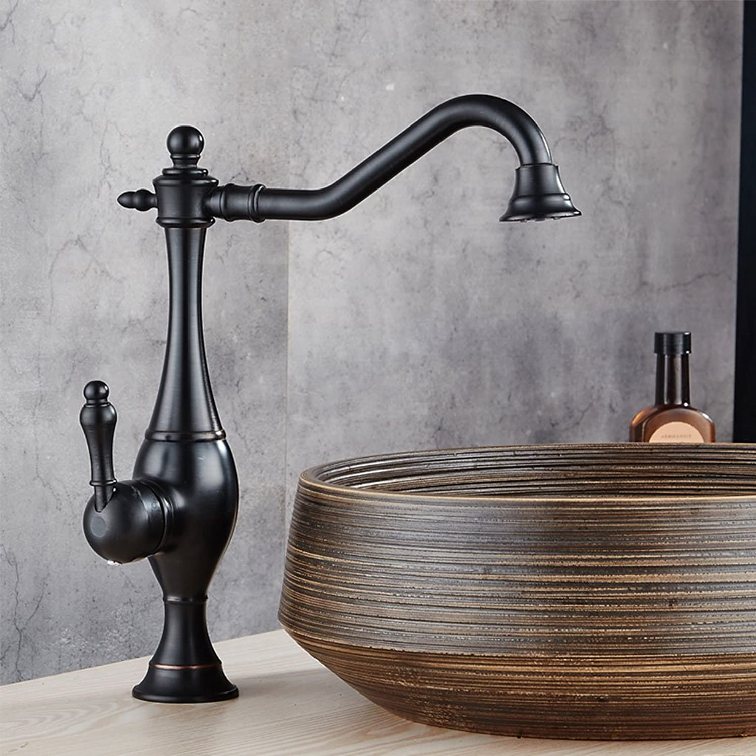 WYQLZ High-end Fashion European Retro Basin Mixer Fine Copper Creative Antique Hot And Cold Faucet ( color   B )
