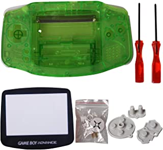 eJiasu GBA Shell Replacement, GBA Parts Replacement Housing Shell Repair Part Case Cover for Nintendo Gameboy Advance GBA (1PC GBA Shell Transparent Green with Lens and Screwdriver)