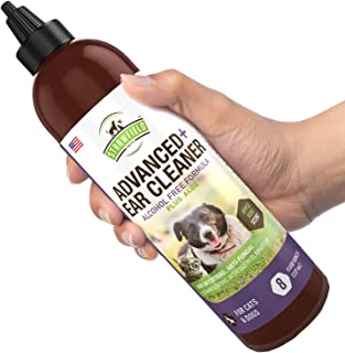Dog Ear Cleaner Solution - Pet Cleaning Ear Wash for Dogs Cats - 8 oz - Cat + Dog Ear Infection Treatment, Yeast, Mite, Odor, Itching, Otitis Externa, Wax, Antibacterial Antifungal Otic Cleanser, USA