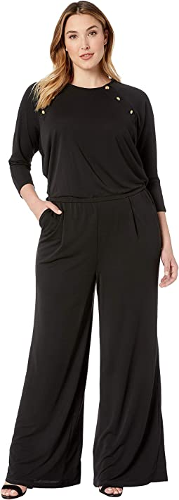 Plus Size Rivet-Trim Jersey Jumpsuit