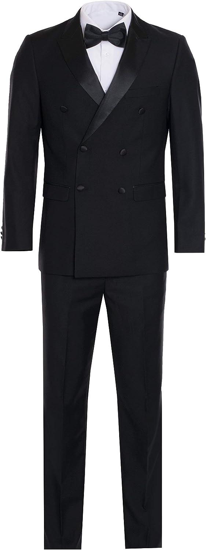 Frank Men's Tuxedo Double Breasted Stain Black Lapel Wedding Suit