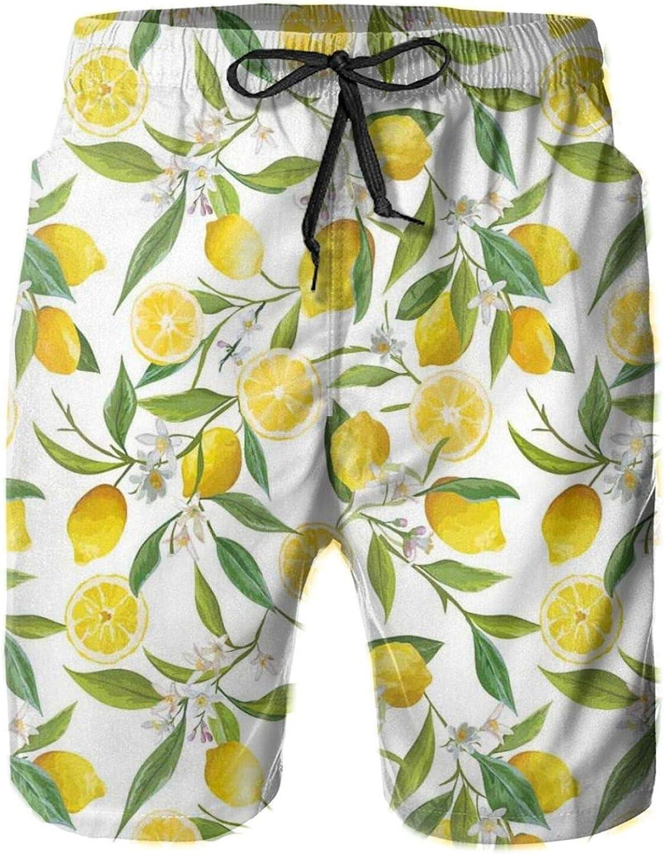 Exotic Lemon Tree Branches Yummy Delicious Kitchen Gardening Theme Design Art Printed Beach Shorts for Men Swim Trucks Mesh Lining,M