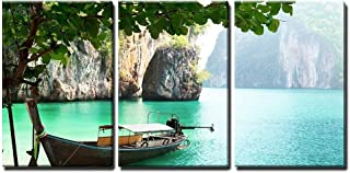 wall26 - 3 Piece Canvas Wall Art - Long Boat on Island in Thailand - Modern Home Decor Stretched and Framed Ready to Hang - 24