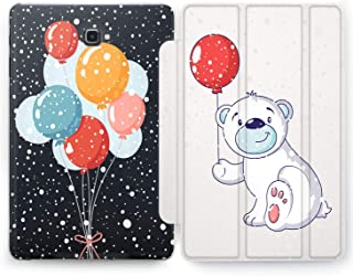 Wonder Wild Bear Gift Samsung Galaxy Tab S4 S2 S3 Smart Stand Case 2015 2016 2017 2018 Tablet Cover 8 9.6 9.7 10 10.1 10.5 Inch Clear Design Animals Winter Balloon Cute Kids Polar Bow Smile Snowing