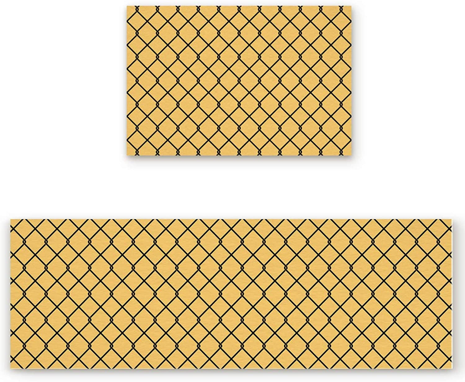 Savannan 2 Piece Non-Slip Kitchen Bathroom Entrance Mat Absorbent Durable Floor Doormat Runner Rug Set - Modern Geometric Grid Pattern - Yellow