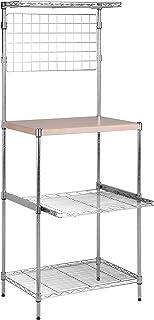 Honey-Can-Do SHF-04347 Microwave Bakers Rack with Adjustable Shelf, Chrome, 17L x 23W x 59H