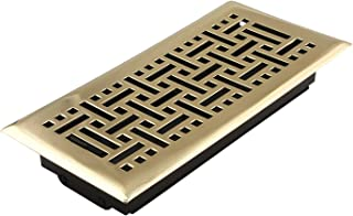 Accord AMFRPBB410 Floor Register with Wicker Design, 4-Inch x 10-Inch(Duct Opening Measurements), Polished Brass