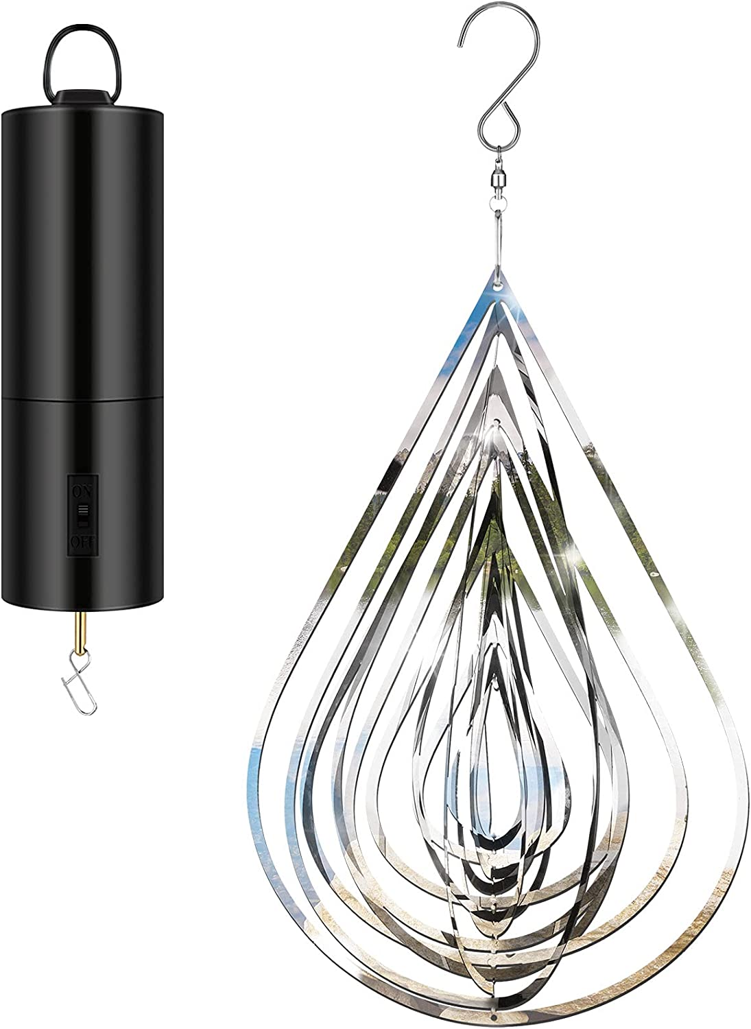 3D Silver Water Drop-Shaped Wind Spinner Stainless Steel Hanging Wind Spinner Outdoor Decor 3D Flowing-Light Effect Decor with Outdoor Metal Motor and Hook for Outdoor Garden House Hanging Decoration