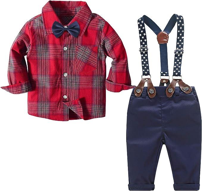 Kids 1950s Clothing & Costumes: Girls, Boys, Toddlers Boys Clothes Set Dress Shirt Bow Tie Suspender Pants Set Baby Boy Part Wedding Suit Set  AT vintagedancer.com