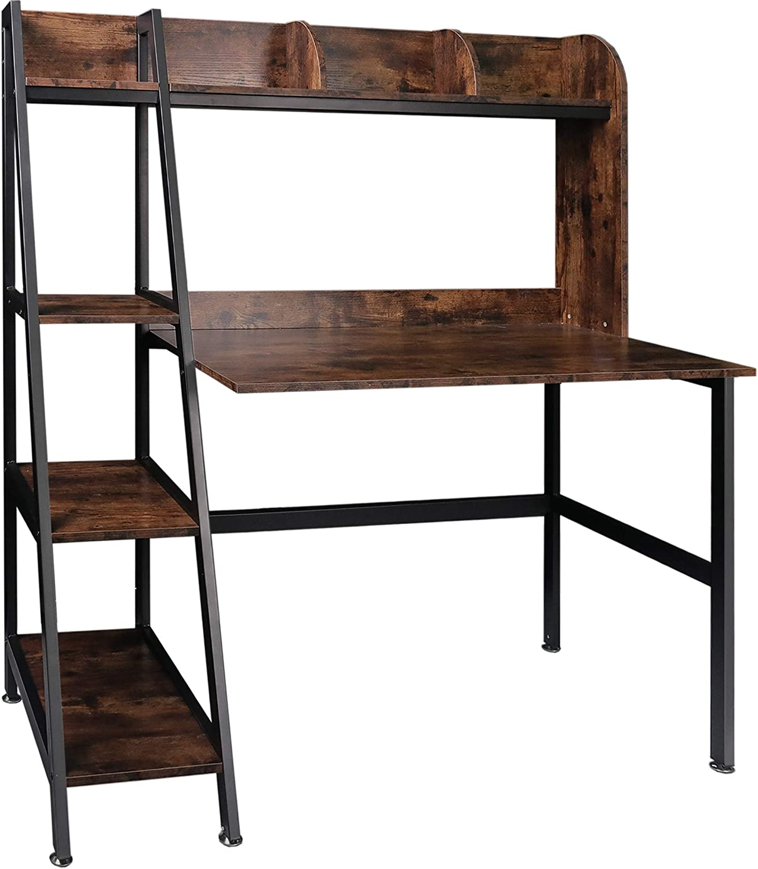Tektalk Computer Desk with 新着セール 4 Ladder Bookshelf テレビで話題 Top Wo Shelf