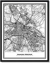 Susie Arts 8X10 Unframed Amsterdam Netherlands Metropolitan City View Abstract Street Map Art Print Poster Wall Decor V241