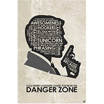 """Sterling Archer. Danger Zone Giclee Art Print Poster from Typography Drawing by Pop Artist Stephen P. 12"""" x 18"""""""