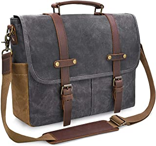 mens grey leather messenger bag