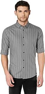 Dennis Lingo Men's Striped Green Slim Fit Cotton Casual Shirt