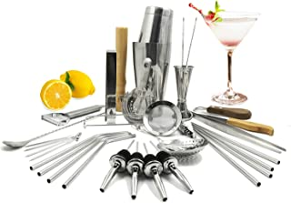 SKYFISH Stainless Steel Cocktail Bar Shaker Set With 32-Pieces Bar Tools For Bartender Kit