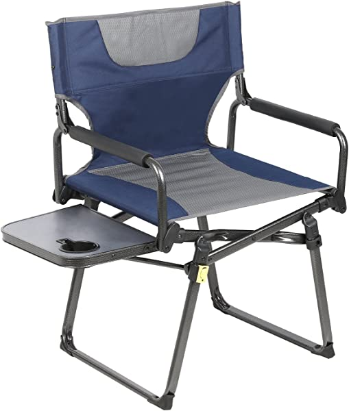 PORTAL Compact Folding Directors Chair Heavy Duty Folding Chair Padded Full Back With Carry Strap Side Table And Armrest Supports 300 Lbs